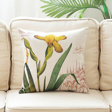 """Cushion Cover Decorative Pillow Case Sofa Throw Vintage Yellow Orchid 18"""""""