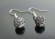 1 Paar Shamballa Ohrringe Grau Ohrhänger Anhänger 10 mm Kristall Strass Kugel