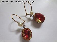 Art Nouveau Art Deco earrings watermelon Victorian vintage style short drop