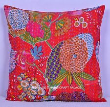 """16"""" Indian Handmade Red Floral Kantha Patchwork Cushion Cotton Pillow Case Throw"""