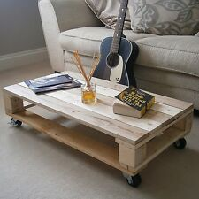Industrial Recycled Rustic Shabby Chic Solid Wood Pallet Coffee Table on Castors