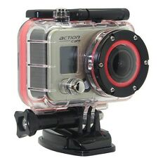 1080p WiFi Waterproof/Dustproof Action Camera - Silver Carry Case/Accessories