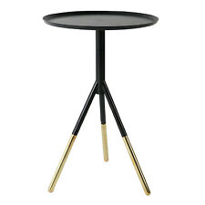 Round Black and Brass Side Table