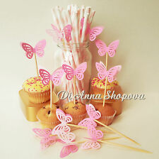 12 x princess party decorations table birthday cupcake toppers pink butterfly