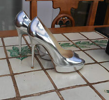 JIMMY CHOO CROWN MIRRORED SILVER PEEP TOE SHOES, SIZE 37.5, UK 4.5