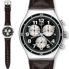 Swatch Uhr BROWNED Irony New Chrono mit Lederarmband, YVS400, NEU+OVP