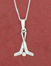 Hockey Sticks Necklace New Solid 925 Sterling Silver Charm pendant and chain ice