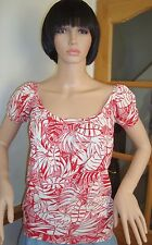LADIES  TOP RED & WHITE  FLORAL  SIZE  8