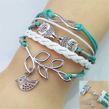 DIY Fashion Women's Leather Bracelet girls Cuff Bangle Friendship woven Jewelry