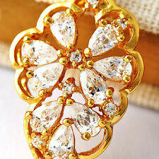 Fashion womens Yellow Gold Filled crystal leaf Pendant jewelry fit long necklace