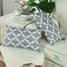 SET OF 2 Gray Bloster Cover Pillow Shell Quatrefoil Accent Geometric Car 30x50cm