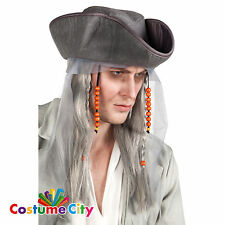 Adult Mens Ghost Pirate Wig & Hat Halloween Fancy Dress Costume Accessory