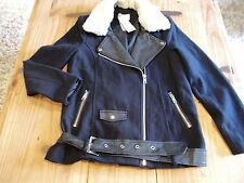 bnwt  size 12  navy blue wool blend fully  lined jacket with fur collar  RRP £45