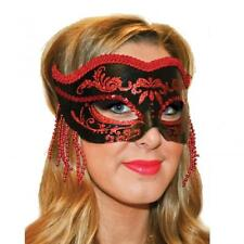 Fangtastic Black & Red Beaded Masquerade Mask