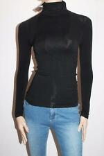 Cherry Lace Designer Black Roll Neck Long Sleeve Top Size S BNWT #SY84