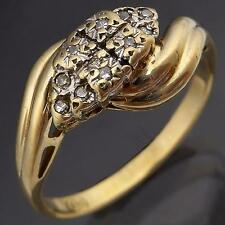 By-pass style 10 DIAMOND CLUSTER 9ct Solid Yellow GOLD DRESS RING estate Sz O1/2