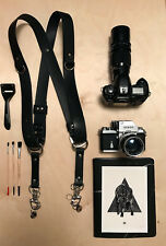 Camera Harness Dual Camera Shoulder Strap Real Black Leather Camera Strap