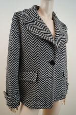 JAEGER Black & Cream Chunky Herringbone Virgin Wool Blend Lined Jacket Coat UK12