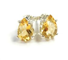 CITRINE GEMSTONE 925 STERLING SILVER STUD EARRINGS STAMPED PEAR CUT 1 g