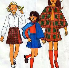 """Vintage 70s GIRLS CAPE & SKIRT Sewing Pattern FF UNCUT Chest 30"""" Size 12 Retro"""