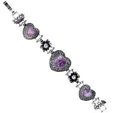 Purple Heart Gemstone Flower Style Tibetan Silver Women Bangle Bracelet Jewelry