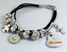 Genuine Braided Leather Charm Bracelet With Name - MELISSA - Gifts for her