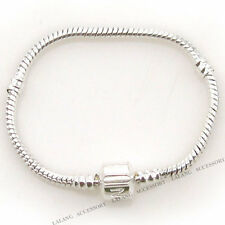 10x 150715 Plated Silver FASHION Snap Clasp Snake Chain Bracelets Fit Bead 15cm