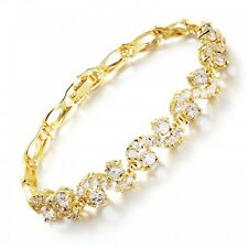 GORGEOUS 18K YELLOW GOLD PLATED & CLEAR CUBIC ZIRCONIA TENNIS  BRACELET