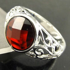A513 GENUINE REAL 925 STERLING SILVER S/F SOLID LADIES GARNET ANTIQUE RING US8