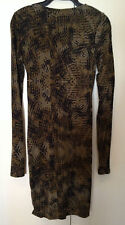 COUNTRY ROAD ~ Olive & Black Camoflague Long Sleeve Stretch Bodycon Dress ~ XXS