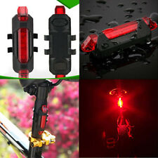 1X 5 LED USB Rechargeable Bike Bicycle Tail Rear Safety Warning Lights