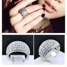 Size 7 Women Jewelry Stainless Steel Silver Full Rhinestone Crystal Ring Fashion