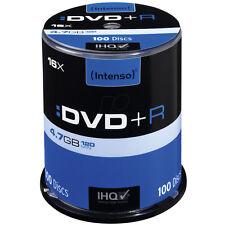 Intenso DVD+R 16x Geschwindigkeit 4,7GB 100er Spindel DVD-Rohlinge 4111156 NEU