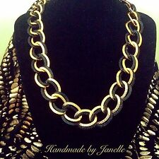 Gold And Black Link Chain Necklace Handmade