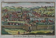 Lyon - Ansicht der Stadt von A. Sommer bei Eder - Originaler Kupferstich um 1750
