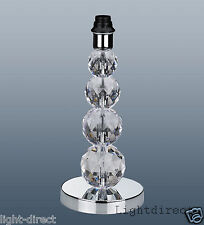 CRYSTAL TOWER LAMP BASE TABLE DESK BEDSIDE ACRYLIC CHROME 35cm TALL