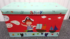 Large Kids Clothes Storage Ottoman Seat Bedroom Stool Toys Box Red Pirate Tidy