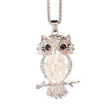 Fashion Rose Gold Plated Opal Crystal Owl Pendant Necklace Long Sweater Chain