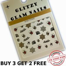 3D GLITTER BLACK HALLOWEEN SPIDERS AND COBWEBS NAIL ART STICKERS DECALS (H36)