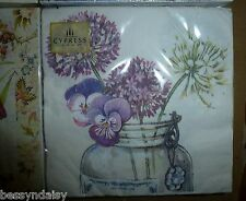 Pack 20 VIOLA Hydrangea Flowers Napkins 3ply Shabby Country Paper Serviettes