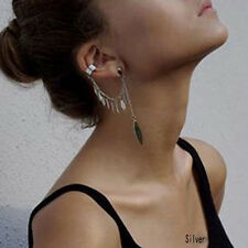 Gothic Punk Trendy Leaf Chain Cuff Tassel SINGLE Earring Silver Plated Jewelry