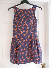 Girls Navy Orange Bow design Dress Age 14 Years party navy Kids Summer Evening