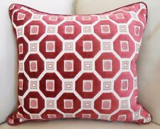 "PAIR NEW 38cm 15"" Cranberry Geometric CUT VELVET Cushion covers with SILK backs"