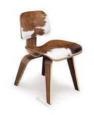 Ergonomischer Walnuss Holz Stuhl mit echtem Kuhfell. Echtes Walnuss und Kuhfell