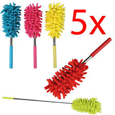 5 X EXTENDABLE TELESCOPIC MICROFIBRE CLEANING FEATHER DUSTER EXTENDING BRUSH NEW