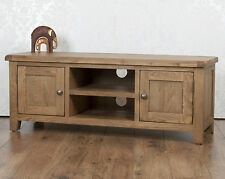 Chunky Farmhouse Solid Oak Dorset  Country Plasma TV Bench Unit Stand Cabinet