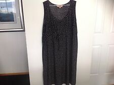 AVELLA  Women's Summer Black White Dash Pattern Dress Elegant Size 24 BEAUTIFUL