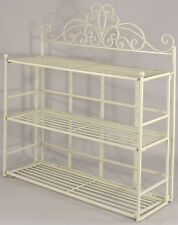 Shabby Chic Cream Metal Wall Shelf Storage Unit Display Rack Bathroom Kitchen