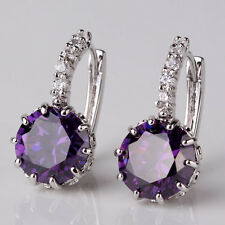 Simple & Elegant 925 Sterling Silver LIGHT PURPLE Crystal Hoop Earrings Jewelry
