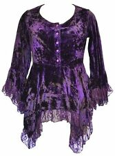 Ladies Purple Gothic Victorian Steampunk TyeDye Crushed Velvet Blouse Size 20-22
